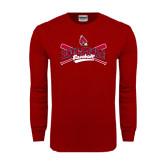 Cardinal Long Sleeve T Shirt-Baseball Crossed Bats