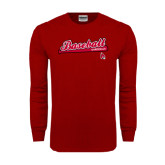 Cardinal Long Sleeve T Shirt-Script Baseball