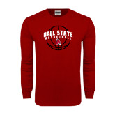 Cardinal Long Sleeve T Shirt-Basketball Arched w/ Ball