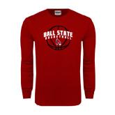 Cardinal Long Sleeve T Shirt-Basketball Arched w/ Ball