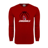 Cardinal Long Sleeve T Shirt-Cardinals Basketball Stacked