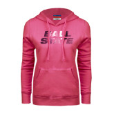 Fuchsia Fleece Hoodie-Ball State Stacked Foil