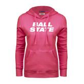 Fuchsia Fleece Hoodie-Ball State Stacked