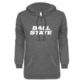 ENZA Ladies Dark Heather V-Notch Raw Edge Fleece Hoodie-Ball State Stacked