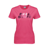Ladies Fuchsia T Shirt-Ball State Stacked Foil