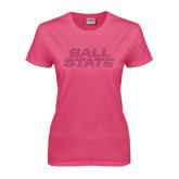 Ladies Fuchsia T Shirt-Ball State Stacked Rhinestones