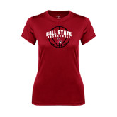 Ladies Syntrel Performance Cardinal Tee-Basketball Arched w/ Ball