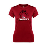 Ladies Syntrel Performance Cardinal Tee-Cardinals Basketball Stacked