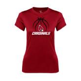 Ladies Syntrel Performance Cardinal Tee-Cardinals Basketball Stacked