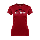 Ladies Syntrel Performance Cardinal Tee-Ball State Football Horizontal