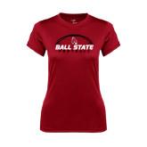 Ladies Syntrel Performance Cardinal Tee-Ball State Football Horizontal