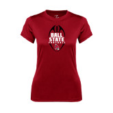 Ladies Syntrel Performance Cardinal Tee-Ball State Football Vertical