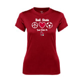 Ladies Syntrel Performance Cardinal Tee-Soccer Just Kick It