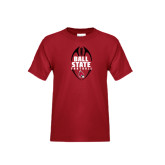 Youth Cardinal T Shirt-Ball State Football Vertical