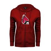 ENZA Ladies Cardinal Fleece Full Zip Hoodie-Cardinal