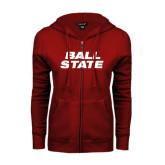 ENZA Ladies Cardinal Fleece Full Zip Hoodie-Ball State Stacked