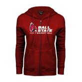ENZA Ladies Cardinal Fleece Full Zip Hoodie-Basketball