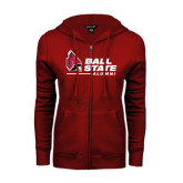 ENZA Ladies Cardinal Fleece Full Zip Hoodie-Alumni