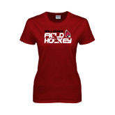 Ladies Cardinal T Shirt-Field Hockey Player