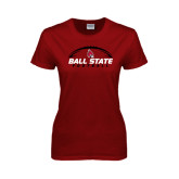 Ladies Cardinal T Shirt-Ball State Football Horizontal