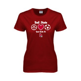 Ladies Cardinal T Shirt-Soccer Just Kick It