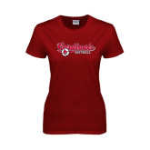 Ladies Cardinal T Shirt-Softball Script