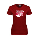 Ladies Cardinal T Shirt-Swim & Dive Swimmer