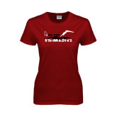Ladies Cardinal T Shirt-Swim & Dive Diver