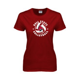 Ladies Cardinal T Shirt-Volleyball Circle