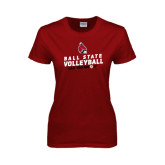 Ladies Cardinal T Shirt-Volleyball Can You Dig It