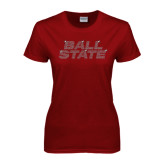 Ladies Cardinal T Shirt-Ball State Stacked Rhinestones