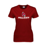 Ladies Cardinal T Shirt-Ball State Cardinals w/ Cardinal