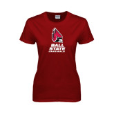 Ladies Cardinal T Shirt-Ball State Cardinals Stacked