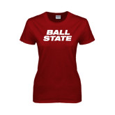 Ladies Cardinal T Shirt-Ball State Stacked