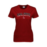 Ladies Cardinal T Shirt-Arched Ball State University