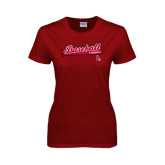 Ladies Cardinal T Shirt-Script Baseball