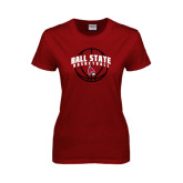 Ladies Cardinal T Shirt-Basketball Arched w/ Ball