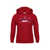 Youth Cardinal Fleece Hoodie-Baseball Crossed Bats