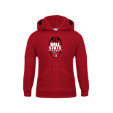 Youth Cardinal Fleece Hoodie-Ball State Football Vertical