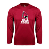 Syntrel Performance Cardinal Longsleeve Shirt-Ball State Cardinals Stacked
