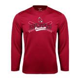 Performance Cardinal Longsleeve Shirt-Baseball Crossed Bats
