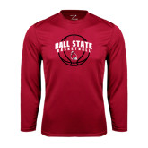 Syntrel Performance Cardinal Longsleeve Shirt-Basketball Arched w/ Ball
