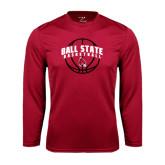 Performance Cardinal Longsleeve Shirt-Basketball Arched w/ Ball