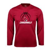 Performance Cardinal Longsleeve Shirt-Cardinals Basketball Stacked