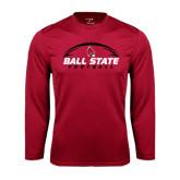 Syntrel Performance Cardinal Longsleeve Shirt-Ball State Football Horizontal
