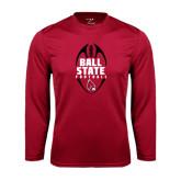 Performance Cardinal Longsleeve Shirt-Ball State Football Vertical