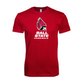 Next Level SoftStyle Cardinal T Shirt-Ball State Cardinals Stacked