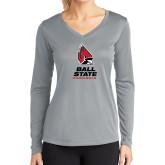 Ladies Syntrel Performance Platinum Longsleeve Shirt-Cardinal Head Ball State Cardinals Vertical