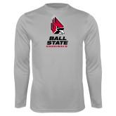 Performance Platinum Longsleeve Shirt-Cardinal Head Ball State Cardinals Vertical