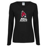 Ladies Black Long Sleeve V Neck Tee-Cardinal Head Ball State Cardinals Vertical